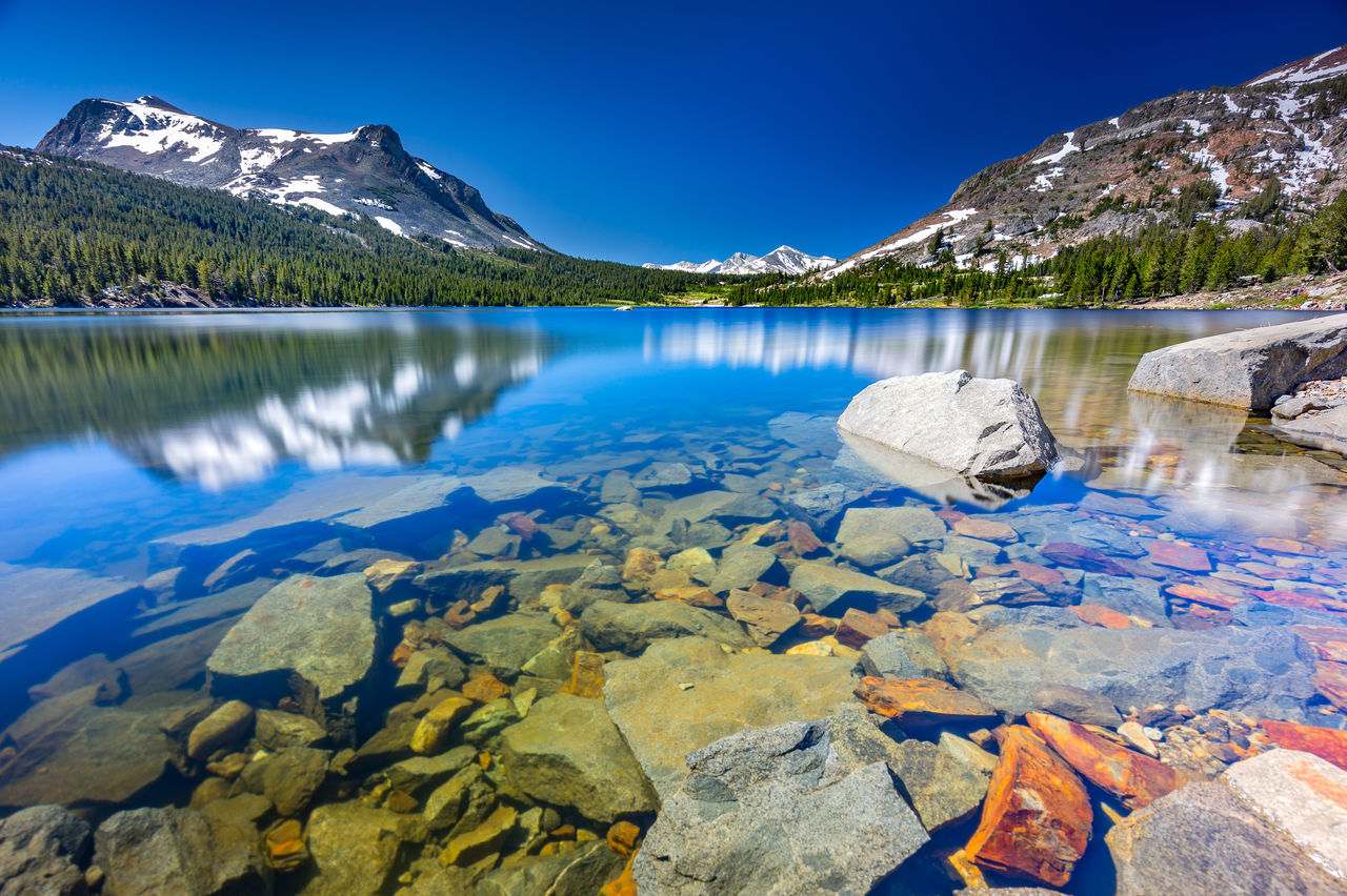 Scenic View Of Lake And Mountains In Yosemite National Park Against Clear Sky