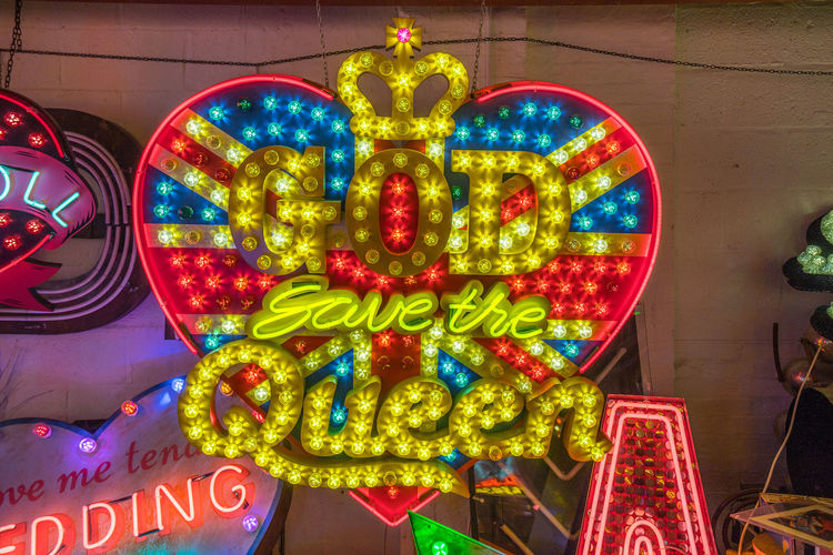 Neon signs and decorations at God's Own Junkyard in Walthamstow, London. Bright Colors Colourful God Save The Queen Neon Signs Queen City Lighting Communication Illuminated Multi Colored Neon Neon Lights Text Union Jack Urban Urban Lighting