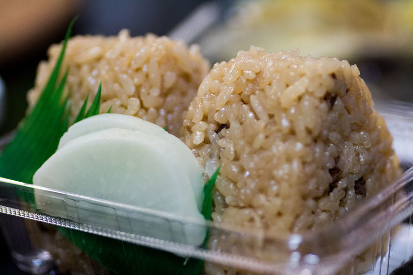 Close-up Details Food Freshness Indulgence Japanese Culture Japanese Food Mealtime No People Omusubi Onigiri Pickles Ready-to-eat Rice Ball Selective Focus Serving Size Show Us Your Takeaway! Taste Good