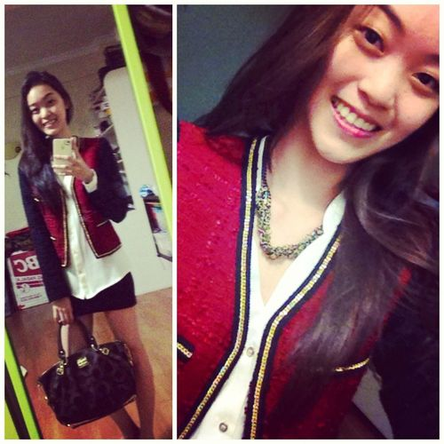 Thought it was appropriate to wear red on v-day. Finally wore the tweed jacket Austin gave me!