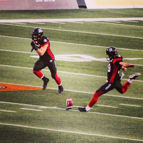 Canadian Football League (Gridiron) kicker Christopher Milo at kick off.