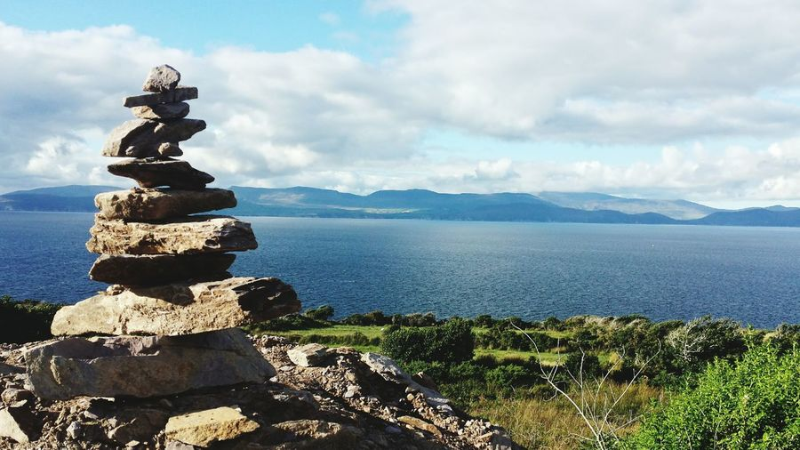 Travel Stone Statue Sea View Ring Of Kerry Relaxing Time Irland