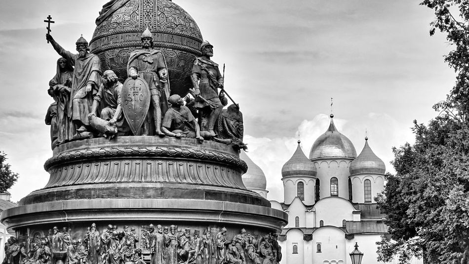 Russia Novgorod Saint Sophia Cathedral Monument Millennium Of Russia Ancient City Historical Building Crucifix Religion Ortodox Church Dome Statue Built Structure Majestic Blackandwhite Monochrome Duck Travel Photography Taking Photos Eyeemphotography EyeEm Best Shots EyeEm Gallery Black And White