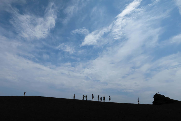 Japan Miyake Miyakejima Neture People Silhouette Sky Volcano Nippana-sinzan Island Blue Sky Travel Landscapes With WhiteWall