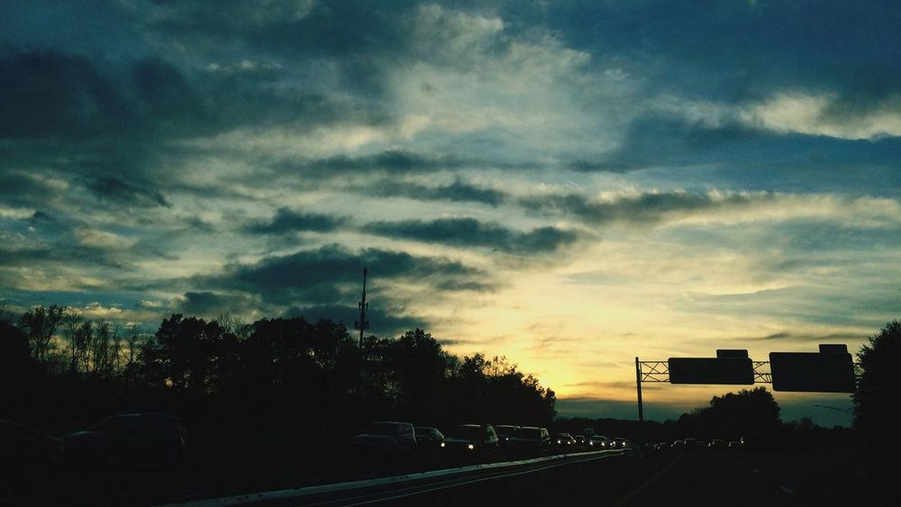 Homeward Bound Commuting Highway Sunset Sunset Silhouettes