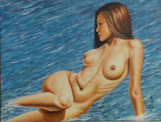 "A very lovely model and a good friend ,took a few photos in my place we both like this and I explain my vision for the background and here we are,oil on canvas 24""_32"", Young Women Nude-Art Portrait Of A Woman Model Friend Young Adult Femininity Friendship. ♡   Fine Art Oil Painting Art, Drawing, Creativity Drawing My Artwork My Art Colllection Lovelyday Love ♥ Koi."