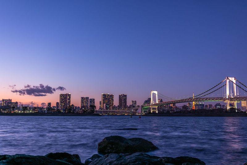Illuminated Tokyo Bay At Night