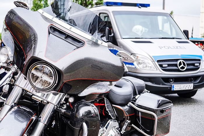 Transportation Mode Of Transport Car Land Vehicle No People Outdoors Day Close-up Harleydays Leisure Activity Motorsport Police Car EyeEm Selects Harley Davidson Reeperbahn