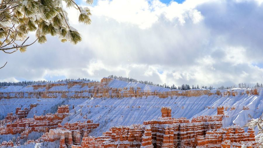 Wide angle view of snow covered bryce canyon national park