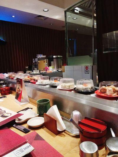 Sushi bar... Sushitei Japanesefood Indoors  Table Foodstory Sushi Time Sushilover Eyeemphotography Indonesian Photographers Collection