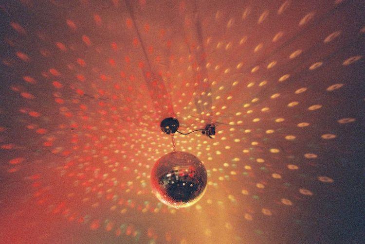 Ceiling Circle Disco Ball Geometric Shape Hanging Illuminated Light Orange Color Shadow