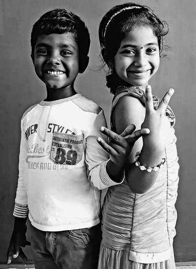Priceless smile on kids face... Samsung Galaxy S8 Blackandwhite Photography Digital Photography Mobilephotography Samsungphotography Kids Kids Being Kids Kidsphotography Kids Portrait Kids Fun Kids Fashion Love Photography Kids Posing Friendship Child Portrait Childhood Togetherness Smiling Happiness Girls Females Bonding Brother Family With Two Children Sister Two Parents Children Elementary Age The Portraitist - 2018 EyeEm Awards