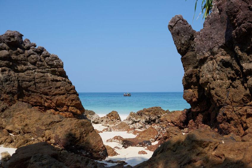 Andaman Sea, Myanmar #andaman #asia #beach #beautiful #boat #Myanmar #rocks #sea #water
