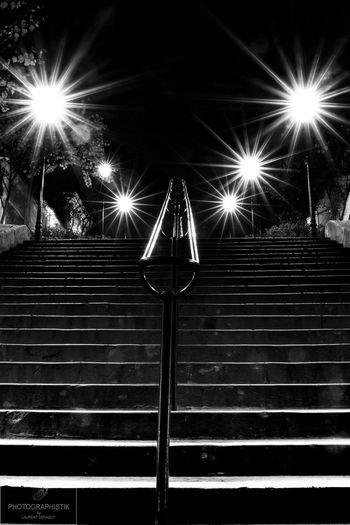 Stairway to stars Illuminated Night No People Outdoors EyeEm Best Shots Architecture Street Light First Eyeem Photo Light Trail Saint Germain En Laye Stairs Black Black And White Blackandwhite