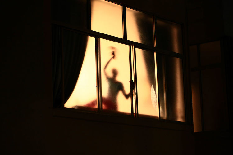 Person Seen Through Window At Night
