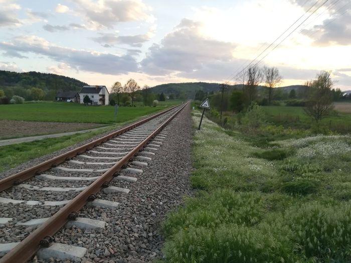 Empty Railway Tree Steam Train Railroad Track Rail Transportation Train - Vehicle Sky Grass Cloud - Sky Travel