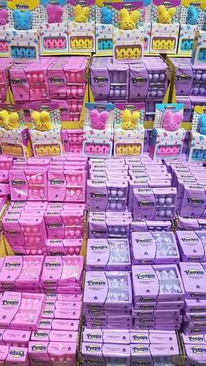 Peeps Multi Colored Backgrounds Full Frame Business Finance And Industry Close-up