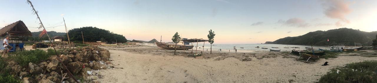INDONESIA Panorama Panoramic Travel Photography Beach Boat Lombok Lombok Beach Panoramic Photography Sand Sunset