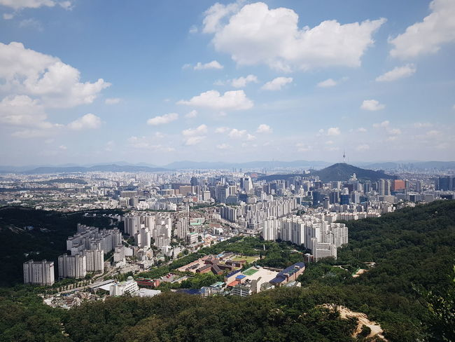 Cityscape Cloud - Sky City Outdoors Beach Sky No People Summer Building Exterior Architecture Landscape Sea Urban Skyline Mountain Seoul Korea Korean Inwangsan Inwang Mountain Ansan Jongno Seodarmun view of seoul city in summer taken from ansan observatory