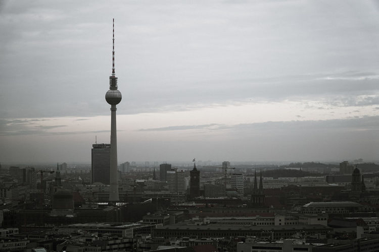 View from Berlin Hi-Flyer ( captive balloon at Checkpoint Charlie ) towards Berlin Alexanderplatz. 50 Shades Of Grey Alexanderplatz Architecture Berlin Berlin-Mitte Berliner Fernsehturm Broadcasting City Cityscape Clouds Fernsehturm Kreuzberg Sky Skyscraper Tall - High Tower Travel Destinations Wolfzuachis