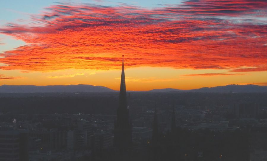 Beauty In Nature Cloud - Sky Dramatic Sky Mountain Orange Color Sky Sunrise At St Patrick's Cathedral Melbourne