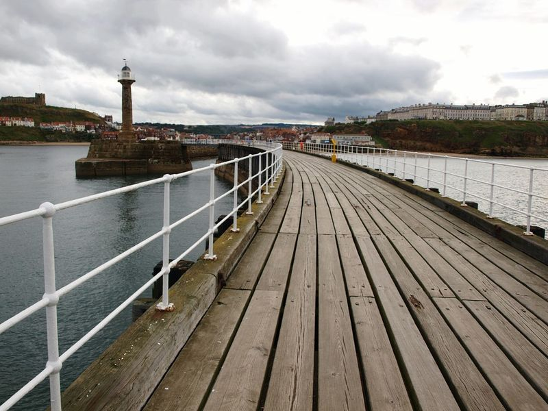 Whitby Yorkshire Coast Whitby Pier Pier Harbour Sea Sky Coastline Wooden Structure Boardwalk Railings Lighthouse