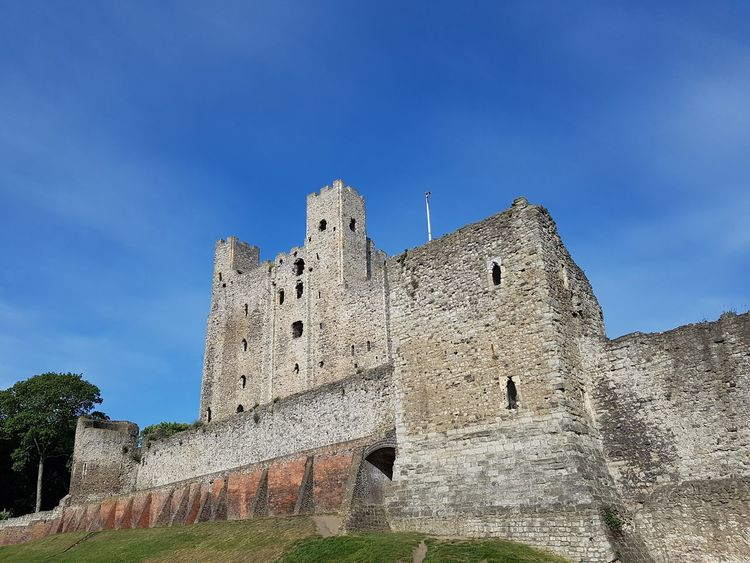 Architecture Blue Castle Castle Towers Day Green Grass Green Trees History Low Angle View No People Outdoors Rochester Castle Rochester, Kent Sky Slight Cloud Sky Stone Castle The Past Tourist Attraction  Travel Travel Destinations White Colour
