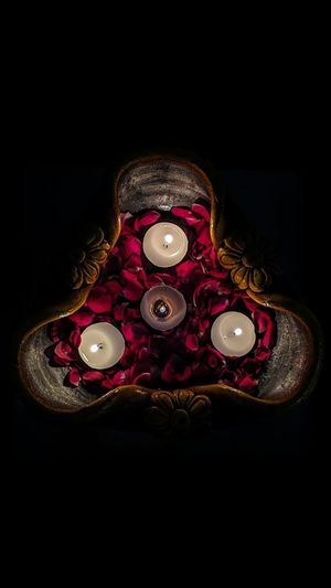 Diya - Oil Lamp Black Background Close-up