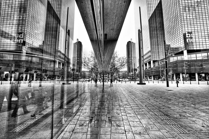 Mirror image. Architecture Built Structure Transportation Connection Rail Transportation Architectural Column Modern Rotterdam Architecture Central Station Rotterdam Black And White Collection  Black And White Photography Blackandwhite Travel Photography Travel City Modern Architecture Building Exterior