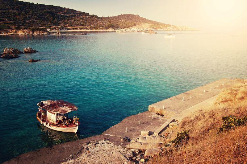Boat Fishing Boat Ship Lake Sea Greece Landscape Landscape_photography Landscape_Collection Water Summer
