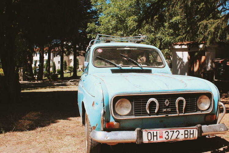 View of old car on field