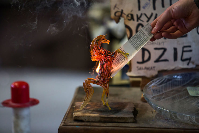 Burning Close-up Day Factory Flame Focus On Foreground Glass - Material Glass Factory Heat - Temperature Holding Human Body Part Human Hand Indoors  Motion Muranoglass One Person People Real People Working