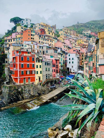 Houses by sea against buildings in city