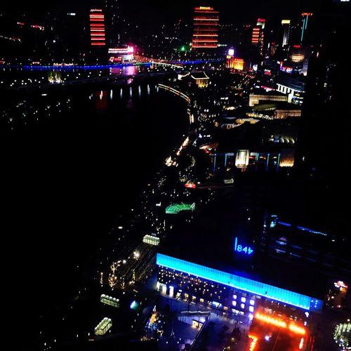 Colorful Lights City Night Lights City Life Biz Trip Ningbo China Out Of The Window
