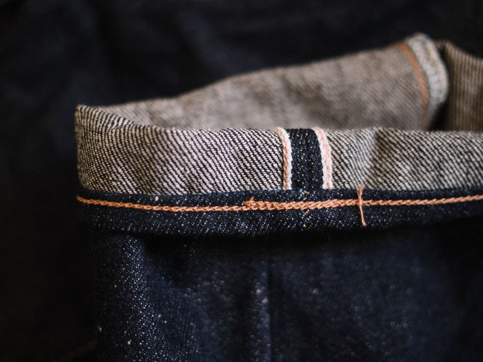 Close-up of folded jeans