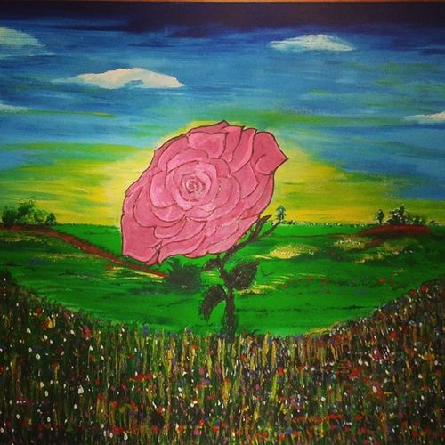 TableauRosepourtoi Maman Mespeinturesacryliques Art fandefleurflowers