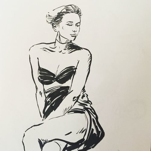 """""""Kati"""", lifedrawing, penbrush and ink on paper. Pose Ubud Bali Sketch Lifedrawing Art Ink Drawing Studio Shot White Background One Person Paper Indoors  Close-up Day People"""