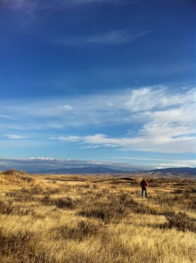 Sky Scenics Landscape Nature Cloud - Sky Beauty In Nature Outdoors Full Length One Person Real People Leisure Activity Rear View Distant Men Day Adventure Mammal People Adult Indian Valley... Indian Valley Idaho Fall October #FREIHEITBERLIN