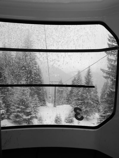 """Winter outside the cabin"" No Filter, No Edit, Just Photography No Filter No Filters Or Effects Italy Dolomites, Italy Blackandwhite Black And White Water Window Transportation Day No People Close-up Outdoors Nature Sky"
