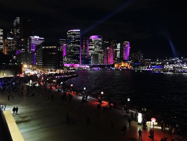 #Vivid_2018 Night Architecture Building Exterior City Built Structure Water Illuminated City Life Skyscraper Outdoors Arts Culture And Entertainment Cityscape