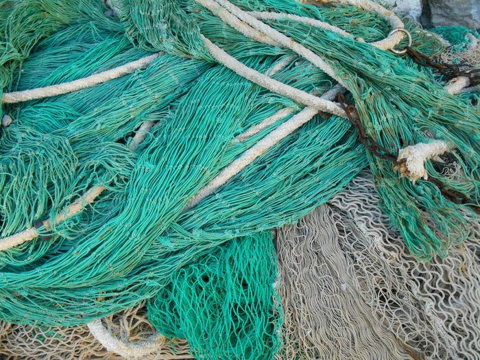 Full frame shot of fishing net drying in the sun