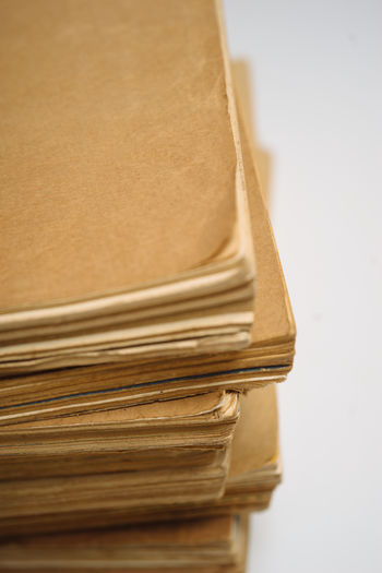 Stack Paper White Background Close-up Old Large Group Of Objects Document Book Publication Education
