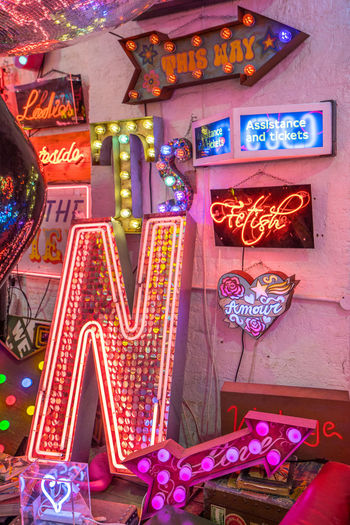 Neon signs and decorations at God's Own Junkyard in Walthamstow, London. Bright Colors Colourful Neon Signs This Way Arrangement City Lighting Neon Neon Lights Urban Urban Lighting