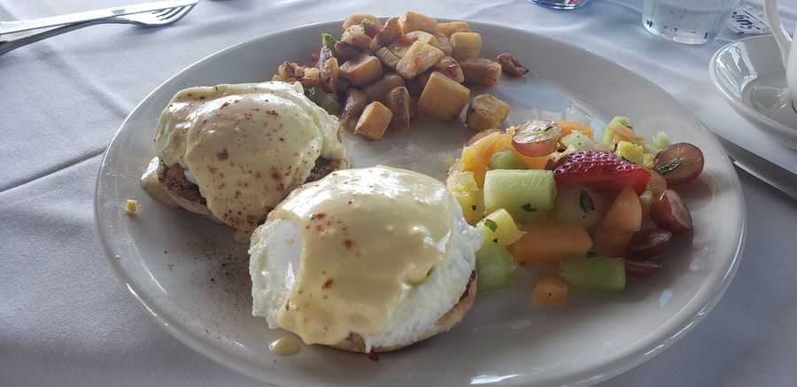 Chart House Waterfront Maryland Utensils Eggs Benedict Seafoods Crab Morning Delicious Yummy Potato Fries Potatos Crab Cakes Crab Cake Benedict EyeEm Selects Plate Fruit Breakfast Close-up Food And Drink Sweet Food Poached #urbanana: The Urban Playground