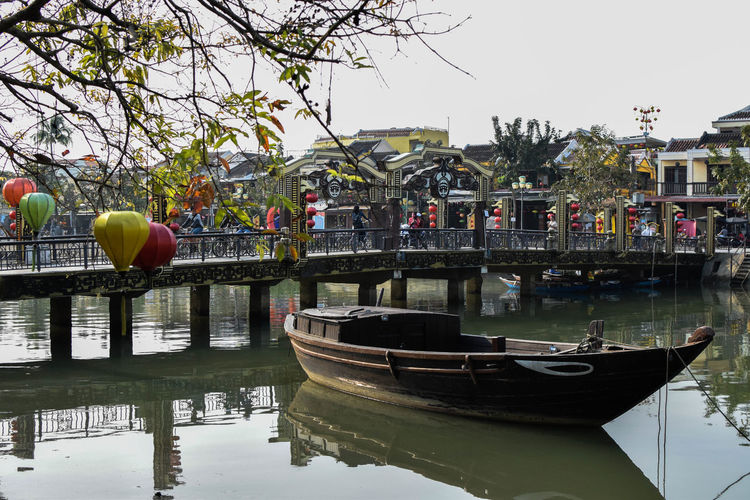 Boat on Hue river Water Nautical Vessel Tree Gondola - Traditional Boat Reflection City Sky Canal Boat Moored Adventures In The City