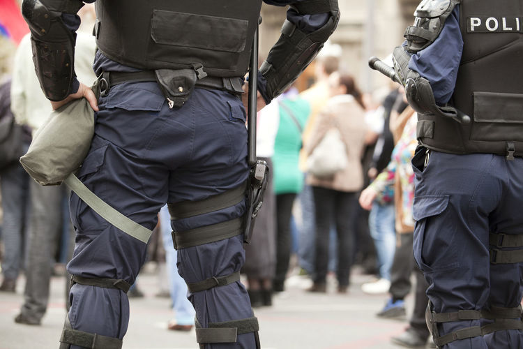 Police officers on duty. Counter-terrorism. State of emergency. Adult Adults Only Day Outdoors People Weapon