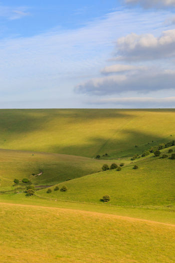 Rolling Hills in the South Downs Beauty In Nature Cloud - Sky Cloud Shadows Countryside Day Field Grass Green Color Landscape Mount Caburn Nature No People Outdoors Scenics Sky South Downs Sussex Tranquil Scene Tranquility Vertical