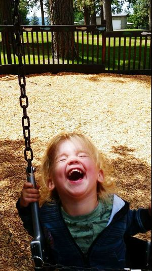 Childhood Mouth Open Playground Sunlight Children Only Happiness Park Fun Blond Hair Columbia River Gorge Tree Grass Outdoors Oregon Boy EyeEmNewHere Blue Eyed Boy Boys With Dimples
