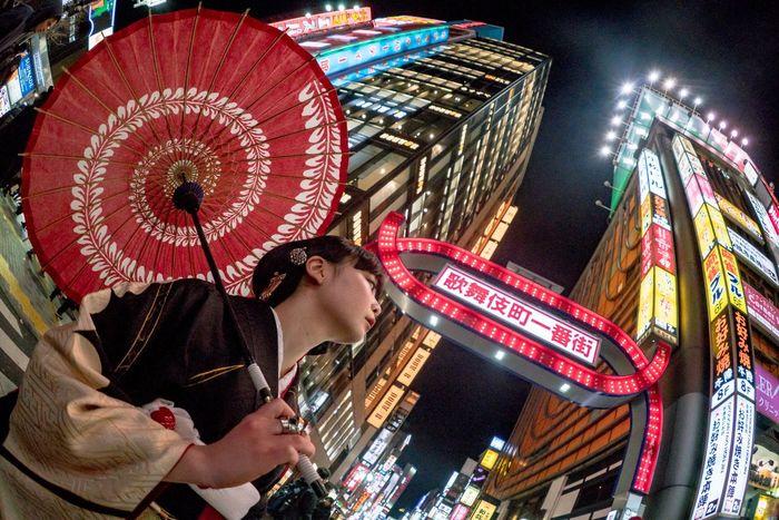 Fisheye Night Street Kabukicho Neon Beauty Tokyo Japan Kimono Illuminated City Life Building Exterior People