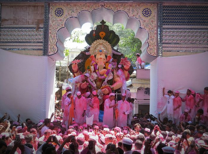 Lalbaug Cha Raja!! This was clicked during Ganesh Chaturthi Festival held in India Religion Indoors  Large Group Of People Person Place Of Worship Crowd Culture Retail  Façade Idol Multi Colored India Festival Of Lights 2015 GaneshChaturthi First Eyeem Photo